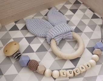 Gift box /, personalized pacifier clip and crochet teething rings