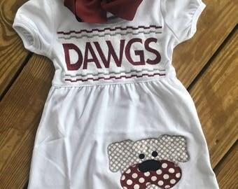 Appliqued bulldog dress
