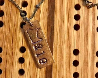 Minnesota 218 Hand Stamped necklace
