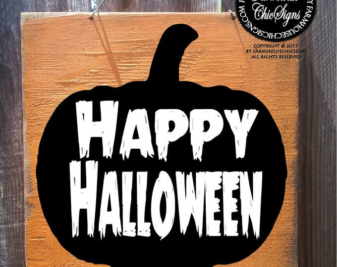 Halloween sign, Happy Halloween sign, Halloween decoration, Halloween decor, jack o lantern sign, spooky pumpkin, Halloween party decor
