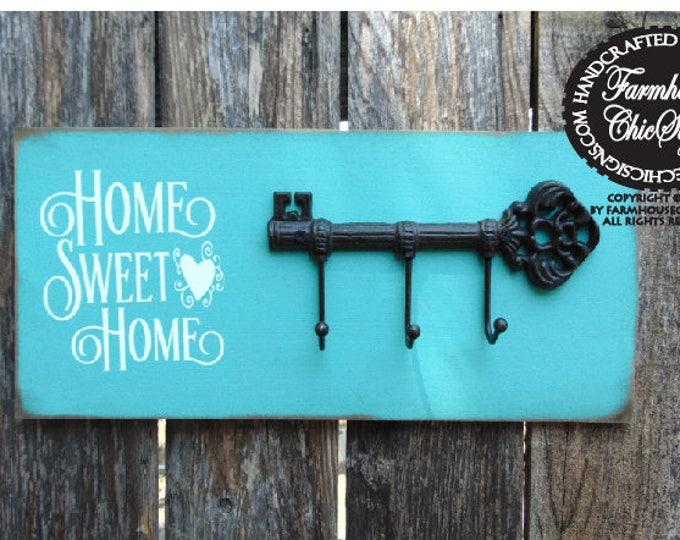 home sweet home, key hook, wall decor, rustic wall decor, key holder, key hook rack, key holder for wall