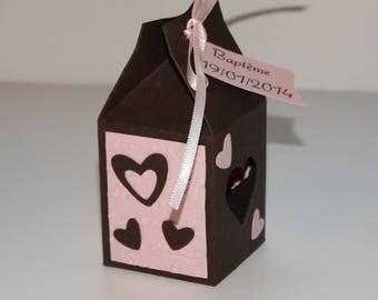 Box lozenge heart - Brown and pink theme