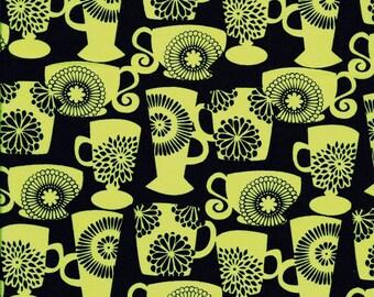 Prix doux ! Tissu Patchwork coton Tasses et mugs  vert anis