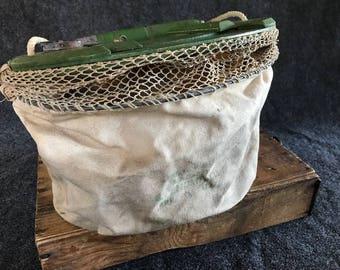 Rare canvas fishing creel