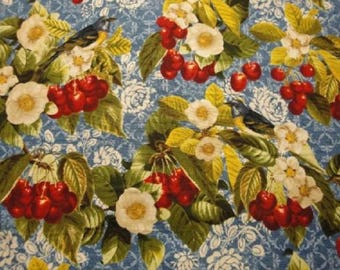 Cherry Blossoms-Blue B/G By Robert Kaufman-1 Yard