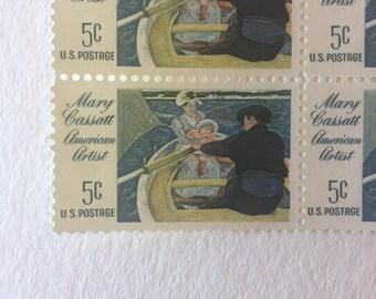 10 Mary Cassatt American Artist 5c US postage stamps unused - Vintage 1966 - blue painters art Pennsylvania