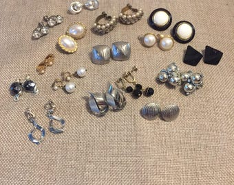 16 Vintage gold tone, silver, pearl, rhinestone, black, white clip on and screw back earrings - Hoops dangle button - 60's 70's 80's lot
