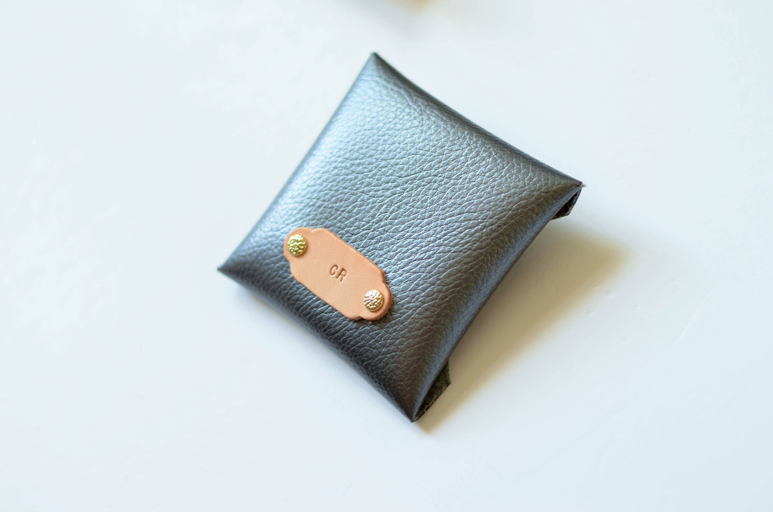 vegan leather wallet ts for her square business card case