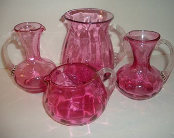 4 Pieces Cranberry Glass