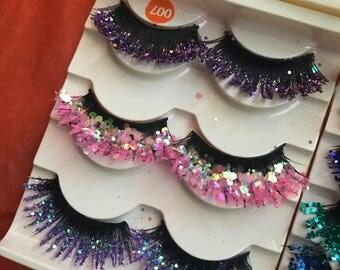 Mermaid glitter eyelashes, glitter eyelashes, mermaid makeup, holographic clothing, unicorn costume, glitter eyeshadow, glitter makeup