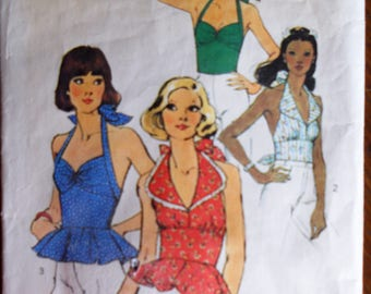Simplicity 6357.  Misses halter tops.  Vintage 1974.  Halter top patterns.  Size 12.  Used.