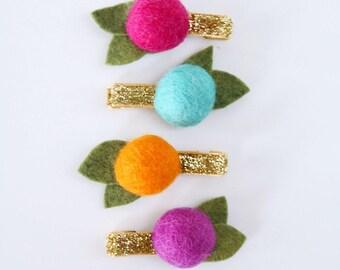 Sweet Summer Treats Felt Ball Flower Clip Set // Metallic Gold Glitter Clips // Modern Hair Clip // Set of 4