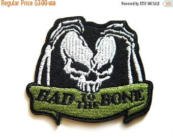 HALF PRICE Skull Bad To The Bone Embroidered Patch Appliqué