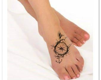 Temporary tattoo compass finger waterproof fake tattoos thin for Temporary finger tattoos