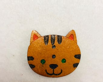 Kitty cat Wood button for patchwork and crafts
