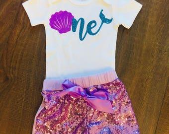 Girl's Mermaid First Birthday | Custom | Bodysuit