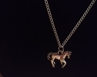 Pewter Horse Charm Silver Plated Necklace
