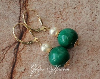 Natural Malachite Earrings 14k Gold filled and White Natural Pearls Malachite Gold Leverbacks Cute Gift for her Genuine Gemstone Jewelry