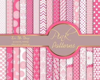 Pink digital backgrounds, pink digital paper pack, pink scrapbook paper digital, with florals, damask, geometric patterns, pink patterns