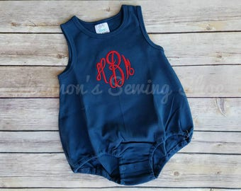 Monogrammed Baby Bubble -  Monogrammed Romper - Navy Blue 4th of July Bubble - Baby Girl Outfit - Baby Boy Outfit