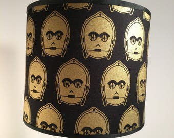 STAR WARS C3PO Lampshade Lamp Shade in Black and Metallic Gold Drum Style Light Shade 8 inches diameter Perfect Gift for the Fan Unusual