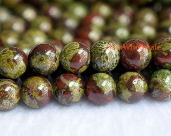 "15.5"" 8mm/10mm Dragon blood Jasper round beads, semi-precious stone, natural dragon blood stone, gemstone wholesaler,green red stone GFL1138"