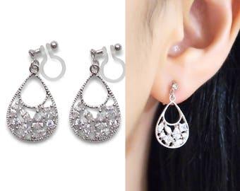 Bridal Clip On Earrings Teardrop Cubic Zirconia Invisible Clip On Earrings Elegant Crystal Clip On Earrings Wedding Clip Earrings Drop