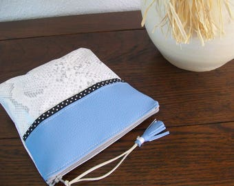 """Clutch bag faux leather blue and silver gray """"KINOS"""""""