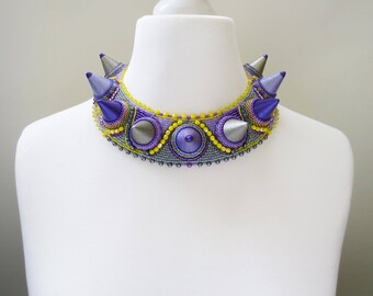 statement necklace, unique embroidered necklace - colorful necklace - spikes jewelry - unique gift for her