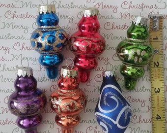 Lot of (6) Vintage Blown Glass Christmas Ornaments