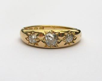 Heavyweight Antique Edwardian 18ct Yellow Gold and Old Mine Cut Diamond Three Star Gypsy Ring