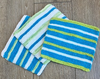 Cotton Dish Cloths, Knit Dish Cloth - set of 3