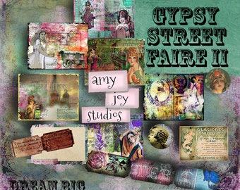 Gypsy Street Faire II - Boho Digital Journal Kit - Bohemian  Printable Journal Junk Journal Kit  DIY journal  ephemera vintage  mixed meida