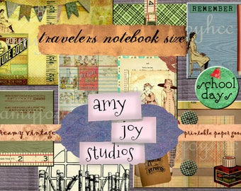 SCHOOL Days  DIY Journal  Travelers Notebook Inserts  Journal Cards ClipArt Collage Mixed Media Printable Journal junk journal vintage