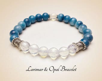 Natural Larimar Bracelet. Opal Bracelet. Gemstone Bracelet. Yoga Jewelry. Healing Bracelet. Blue Bracelet. Reiki Bracelet. #MB195