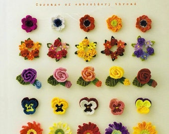 "100 CROCHET CORSAGE PATTERN-""Corsage of Embroidery Thread-Asahi original""-Japanese Craft E-Book #412.Crochet Flower-Tulip-Pancy-Rose,Bird."