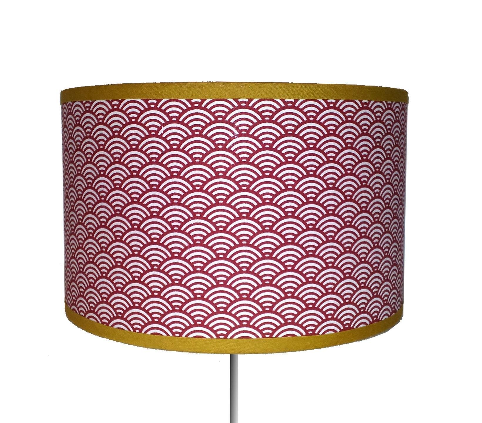 petit abat jour motif japonais vagues rouge. Black Bedroom Furniture Sets. Home Design Ideas