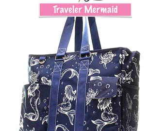 Mermaid The Traveler Large Beach Tote Work Tote Travel Tote Bag Gift Custom Embroidery Design Available