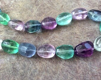 Full Strand Natural Rainbow Fluorite Faceted Nugget Beads