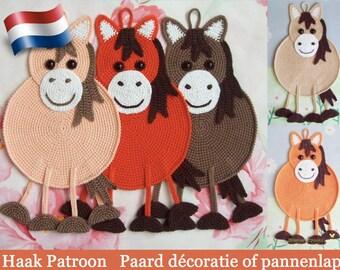 046NLY Paarddecoratie, pannenlap of klein kussen  - Amigurumi Haak Patroon - PDF file by Zabelina Etsy