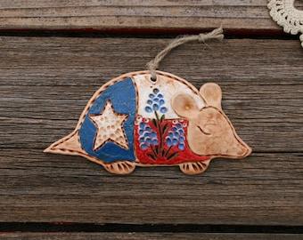 Small TEXAS Flag Armadillo with Bluebonnet / Rustic Texas Armadillo Ornament / Armadillo Decor / Texas Gift / Texas Art / Christmas