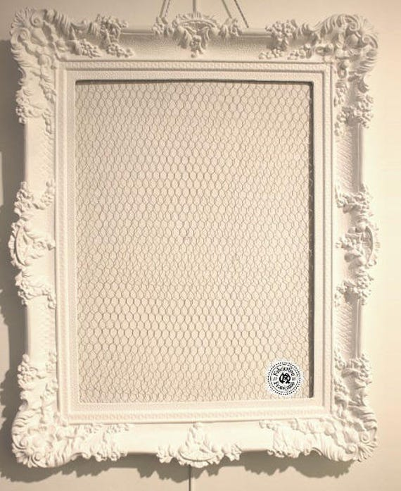 grand cadre 90 x 71 cm shabby chic r sine et bois peint blanc. Black Bedroom Furniture Sets. Home Design Ideas