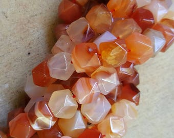 """Natural Carnelian Faceted Polygon Beads, Dyed & Heated 10x10x10mm  - 16"""" Strand"""