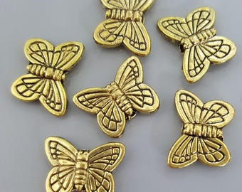 Butterfly Charms, Gold Finish, 11x14mm - 10 Pieces