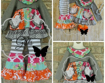 Boutique Outfit, Gray, Pink, Orange, Ruffle Pants, Fall, Girls Outfit, Toddler Outfit, 9M, 12M, 18M,, 2T,  3T, 4T, 5, 6, 7, Matilda Jane