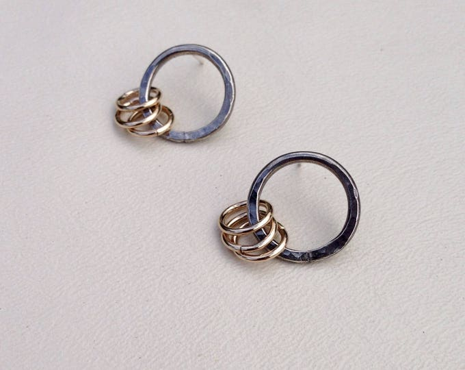 Sterling silver circle earrings with 14k gold fill rings handmade silversmith post