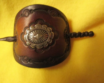 Custom Leather Hair Barrette with Western concho