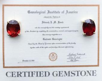 Spectacular 14kt Gold Garnet Earrings - January Birthstone