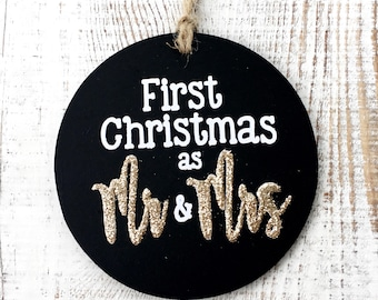 First Christmas as Mr and Mrs Ornament. Personalized. custom. Chalkboard. goldz.
