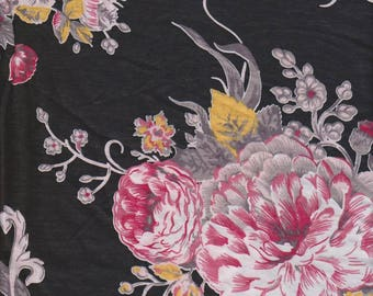 New! Shabby Roses floral Pink rose onTurquoise Cotton Lycra KNit Fabric